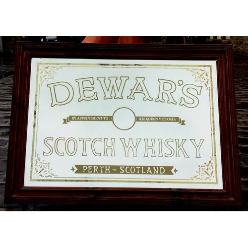 282 - DEWARS SCOTCH WHISKY FRAMED MIRROR. 37 by 27ins. Wooden framed mirror for DEWARS/ SCOTCH WHISKY/ PER...