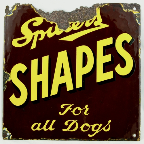 286 - SPILLERS SHAPES ENAMEL SIGN. 12 by 12ins. Square shape enamel sign advertising SPILLERS/ SHAPES/ FOR...