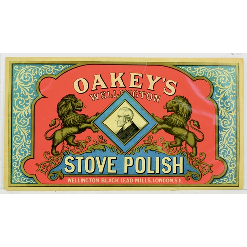 289 - OAKEY'S WELLINGTON STOVE POLISH LABEL. 14.25 by 8ins. Rectangualr shape paper label for OAKEYS/ WELL...