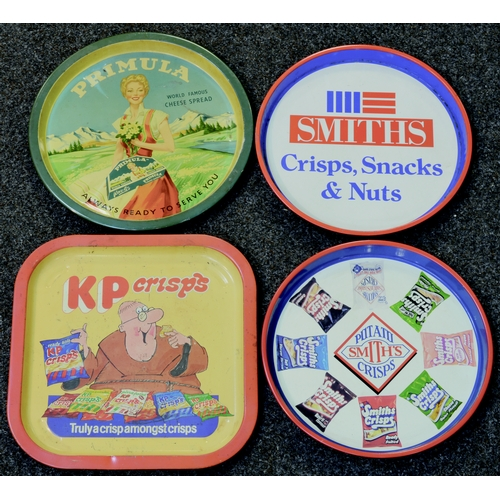 301 - FOOD TRAYS GROUP. 13ins diam. Multi-coloured trays for Primula (period classic!), KP Crisps, 2 for S...