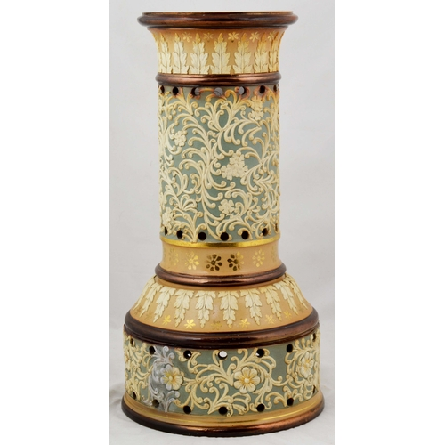 10 - DOULTON LAMBETH GAS OILER. 15.25ins tall. All over applied design by assistant Bessie Newbury. Doult...