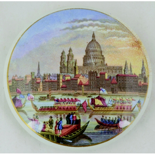 12 - ST PAULS CATHEDRAL AND THE RIVER PAGEANT. (KM 242) 4ins diam. Multicoloured pot lid by Pratt. Bottom...