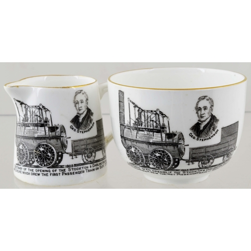 14 - STOCKTON RAILWAY DUO.  Milk jug & sugar bowl commemorating Stockton & Darlington Railway 1825. Shore...