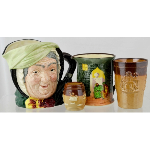 17 - DOULTON GROUP. Tallest 6.25ins. Inc. Sairey Gamp character jug, multicoloured jug, mustard pot & bea...