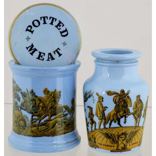 23 - PRATT WARE DUO. Tallest 4ins. Transferred, pale blue glaze, inc. Potted Meat jar, hunting scene & di...