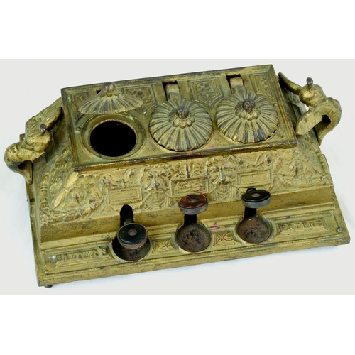 28 - SALTERS PATENT INKWELL. Cast iron mechanical inkwell, Victorian c.1884 with red, black and copy pots...