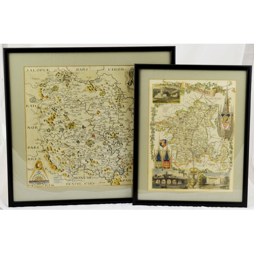 3 - EARLY FRAMED MAPS.  Largest 15.5 by 14.5ins. Depicting Worcester & Herefordshire. (2) Good. (9/10)...