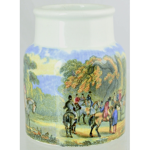 30 - PRATT JAR. (KM 514)  4ins tall. Multicoloured jar Meet of the Hounds. Small amount of very light cra...