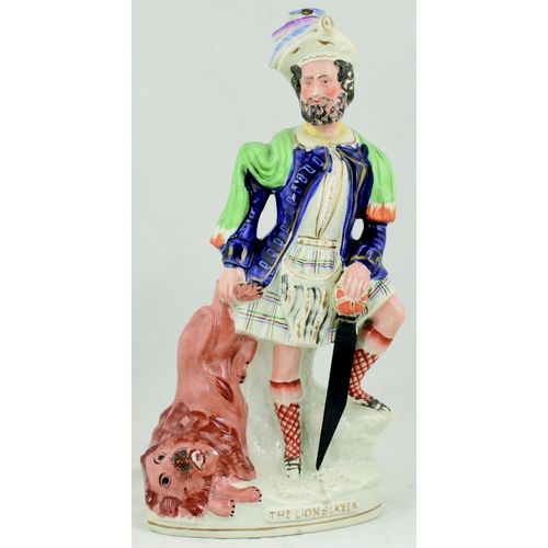49 - STAFFORDSHIRE FLAT BACK FIGURE. 16.25ins tall, 19th century figure 'The Lion Slayer'. All over crazi...