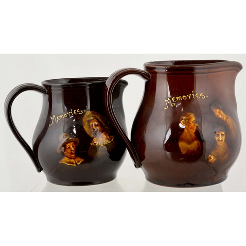 7 - KINGSWARE JUGS DUO. Tallest 6.25ins. 'Memories'  Kingsware jug variants, side handles. Royal Doulton...