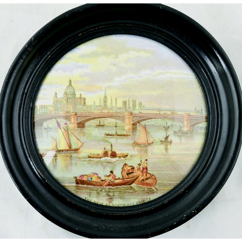 63 - THE NEW BLACKFRIARS BRIDGE POT LID. (KM 244) 5.25ins diam in frame. Produced by the Pratt factory. F...