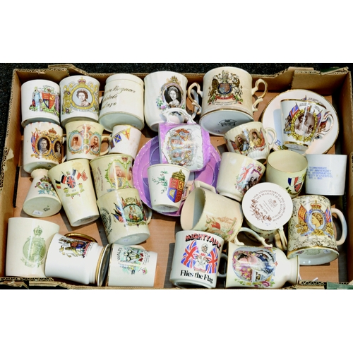 71 - COMMEMORATIVE WARE GROUP. Tray of cups, saucers, beakers etc. from various Coronations inc. 1911, 19...