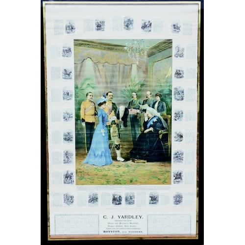 72 - ROYSTON, BARNSLEY DATED CALENDAR. 35 by 25ins. Framed 1902 calendar advertising C. J. Yardley Wholes...