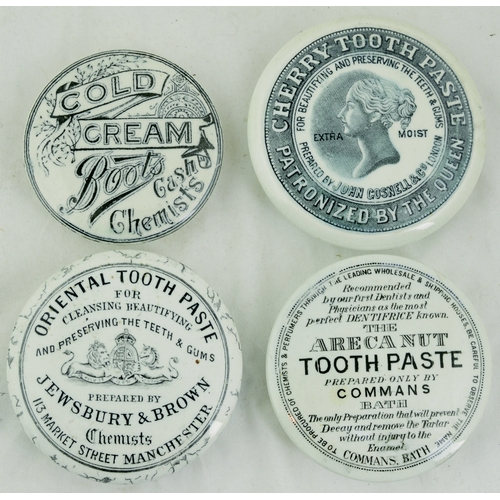 76 - POT LID GROUP. Largest 3.25ins diam. John Gosnell Cherry Toothpaste, Jewsbury & Brown Oriental, Comm...