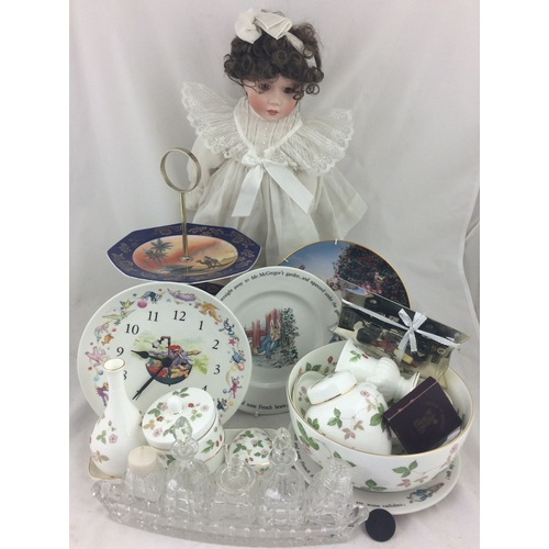 95 - MIXED GROUP. Inc. porcelain doll, silver plate cake stand, cut glass condiment set, Wedgwood Rupert ...
