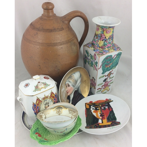 96 - MIXED GROUP. Inc. stoneware flagon, Ringtons commemorative tea caddy, oriental vase, selection bowls...
