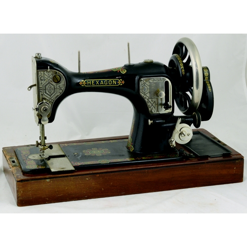 97 - HEXAGON SEWING MACHINE. 10.5ins tall. The Hexagon Sewing Machine Company, serial No X5596. Cast mach...