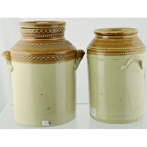120 - STORAGE JAR DUO. Takkest 8.5ins. T.t, jars for Sugar (lidded) & Pl Barley (Buchan p.m.), side side h...