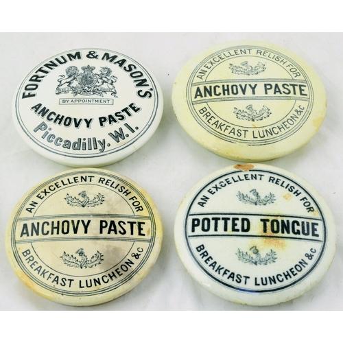 122 - MEAT PASTE POT LIDS GROUP. Largest 4.5ins diam. Potted Tongue & 3 Anchovy Paste (1 Fortnum & Mason)....