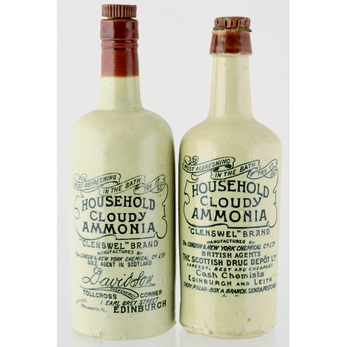 124 - AMMONIAS DUO.  11ins tall. Stoneware, Household Cloudy Ammonia bottles, Edinburgh. One has small fro...