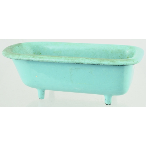 128 - TRADESMAN SAMPLE CAST IRON BATH. 8ins long. Roll top cast iron bath, blue porcelain enamel. Base emb...