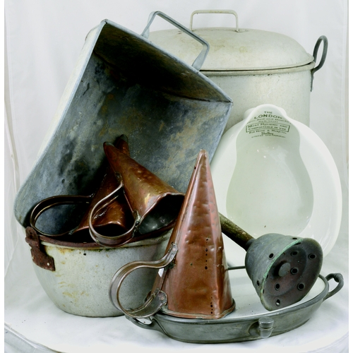 132 - MIXED METAL GROUP. Inc. brass measuring cones, posser, foodwarmer, & bed pan etc. (9)...