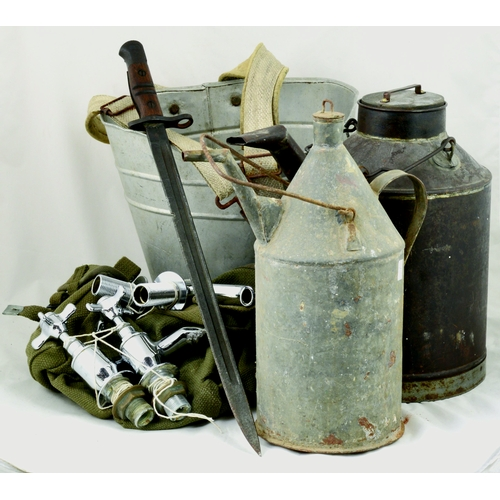 133 - MIXED GROUP. Inc. galvanised spout & handle cans, military webbed satchel, bucket & modern taps etc....