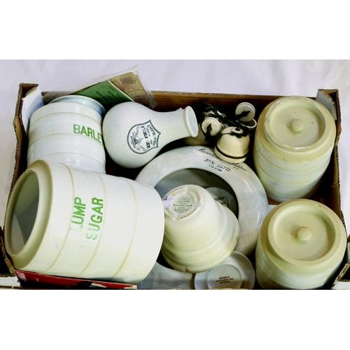 137 - KITCHENALIA GROUP. Inc Grimwade, pudding bowl, & various storage jars, inhaler & bed pan etc. (8/10)...