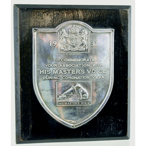 146 - HIS MASTERS VOICE SILVER 1937 AWARD PLAQUE. 7.25 by 6.25ins. Hallmarked advertising award plaque on ...
