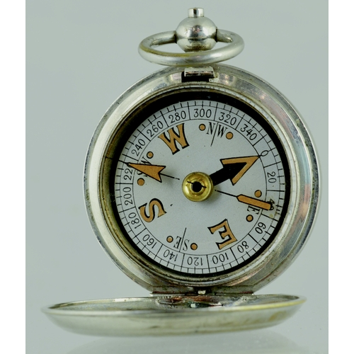 149 - WW2 BRITISH OFFICERS MILITARY POCKET COMPASS. By TERRASSE W. Co . dating 1918. Signed on lid the Bri...