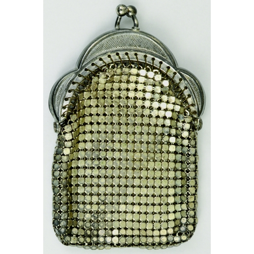 150 - TINY VINTAGE SILVER CHAIN MAIL PURSE. Stainless steel chain mail, silver metal frame, unusual, c. mi...