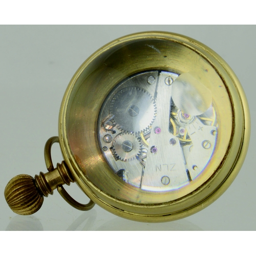 153 - A VINTAGE NAUTICAL ROSKOPF BRASS AND GLASS BALL CLOCK / WATCH. with Visible Escapement. Very good. (...
