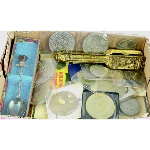 156 - MIXED COINS GROUP. Inc. various commemorative coins plus silver plated teaspoon & nutcracker....
