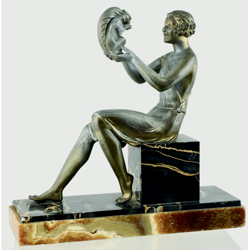185 - DAUVERGNE ART DECO PATINATED METAL SCULPTURE. 10ins tall. On marble depicting 1920's lady with squir...