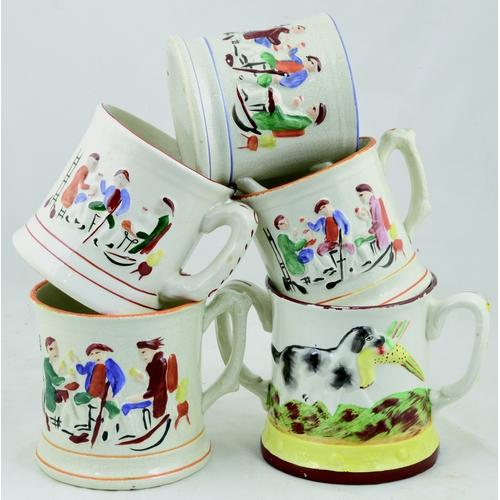 190 - PRATT TYPE FROG MUG GROUP. Tallest 5.5ins. Coloured relief mugs with inside frog (surprise, surprise...