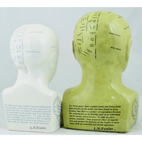 191 - PHRENOLOGY HEAD DUO. Tallest 11ins. Pair od Phrenonolgy heads by L.N. Fowler. All over crazing other...