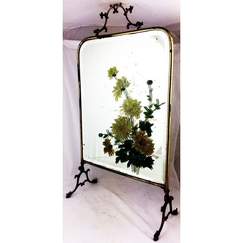 195A - FIRESCREEN. 41ins tall. Bevel edged mirrored screen with hand painted floral decoration & solid meta...