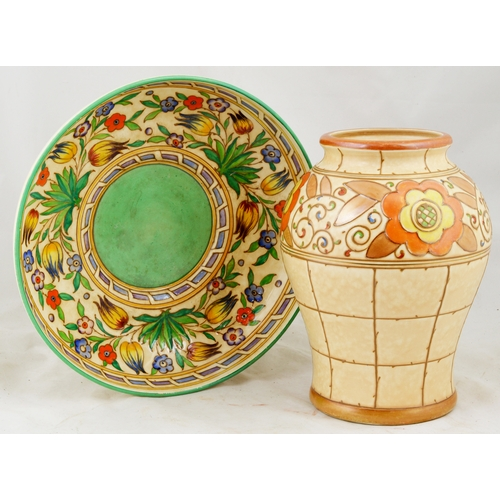 197 - CHARLOTTE RHEAD DUO. Inc. vase & bowl, multicoloured designs. Bursley Ware base marks. Very good. (2...