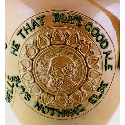 204 - DOULTON LAMBETH SALT GLAZED STONEWARE MOTTO JUG. 7.25ins tall. He That Buys..., applied classical ca...