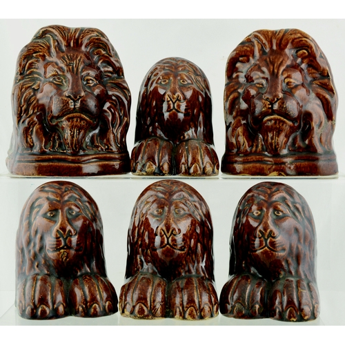 213 - BENNINGTON (?) LION WINDOW STOPS/ RESTS. Largest 5ins tall. Two size variations & design all atypica...