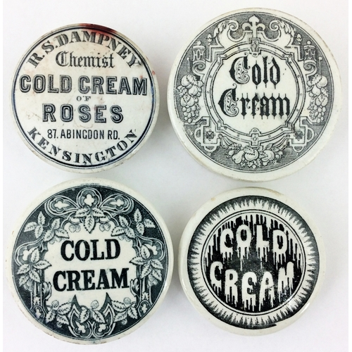 215 - COLD CREAM POT LIDS GROUP.  Largest 2.75ins diam. Inc. R.S. Dampney, Kensington & 3 other unnamed va...
