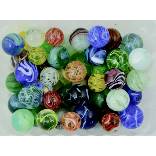 220 - MIXED MARBLES GROUP. 50 marbles of various colours. (10/10)...