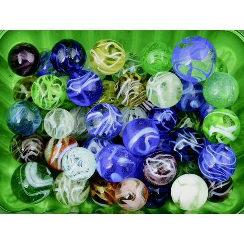221 - MIXED MARBLES GROUP. 50 marbles of various colours. (10/10)...