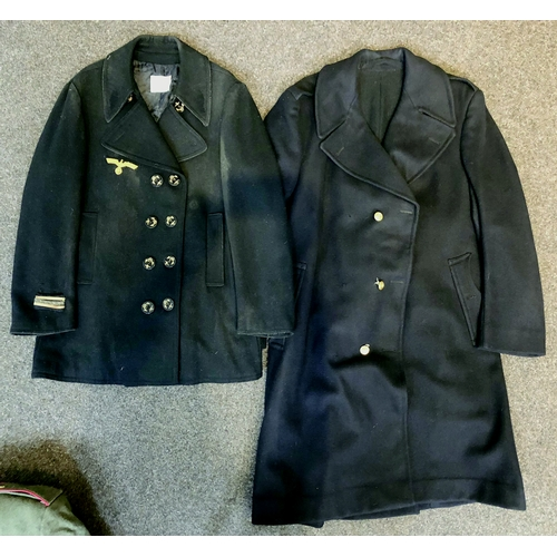 234 - WWII KARL CLAVEY NAVY JACKET. Double breasted, cuff insignia, anchor button detail. Plus another lon...