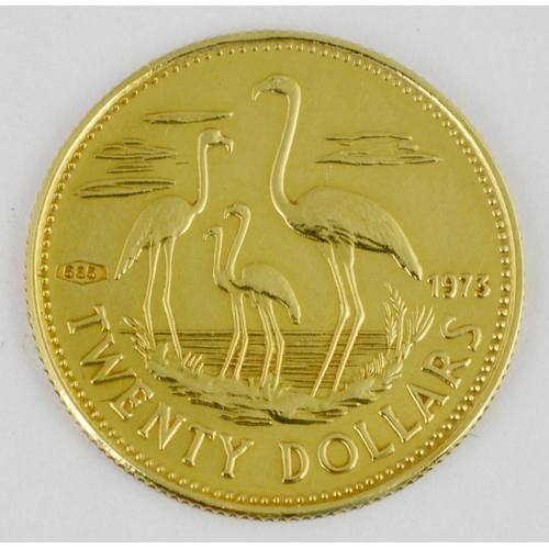 248 - BAHAMAS COMMONWEALTH GOLD COIN. 20 Dollars Commemorative gold coin dated 1973. 3 gms weight....