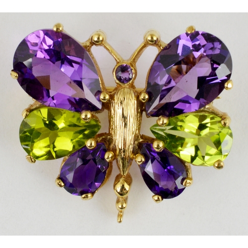 255 - GOLD BUTTERFLY BROOCH. 9ct gold,  4.2g total weight, with 6 coloured glass stones...