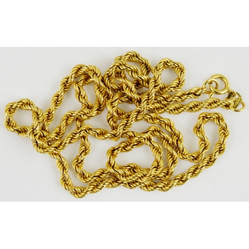 257 - GOLD ROPE NECKLACE. 9ct gold,  3.1g weight....