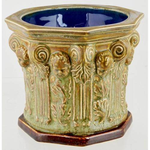 270 - DOULTON LAMBETH STONEWARE FONT. 5.5ins. incised. Font shaped ashtray (?) decorated in relief with ch...
