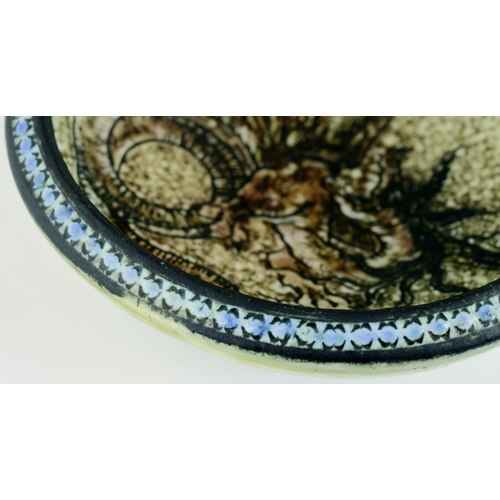 275 - A MARTIN BROTHERS STONEWARE DRAGON DISH. 3.75ins diam. Delightfully detailed decoration on a pin tra...