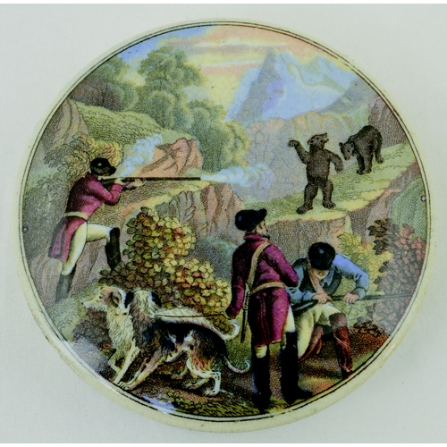 501 - SHOOTING BEARS POT LID. (KM 13) 3ins diam. Multicoloured lid, depicting hunting scene produced by th...